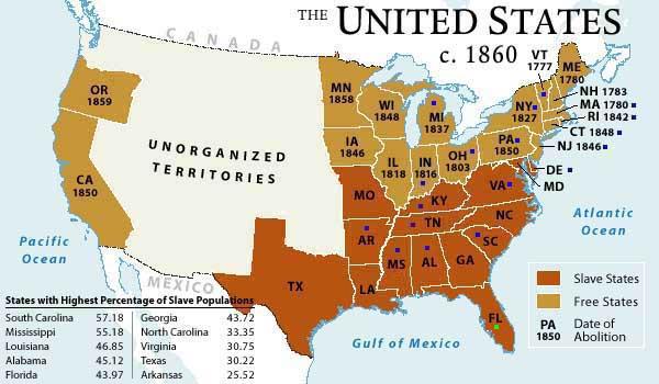 Carte des Etats-Unis en 1860. Etats esclavagistes ou non.
